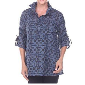Terra SJ Apparel Blue Tie Dye Tunic Top 3/4 Sleeve